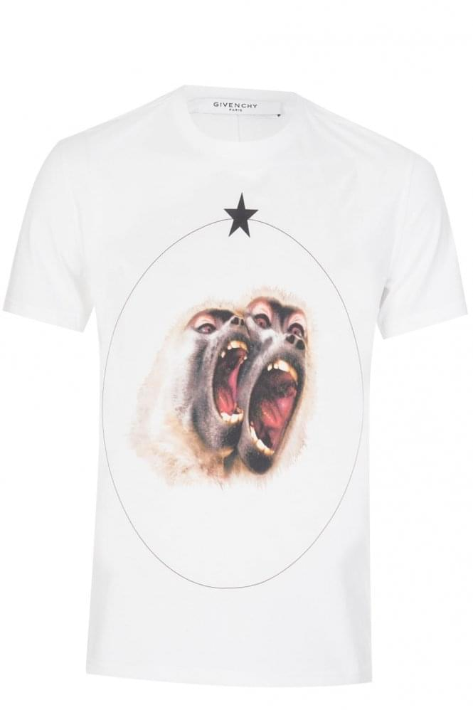 GIVENCHY Screaming Monkeys Tshirt White