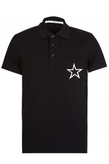Givenchy Star Chest Polo Black