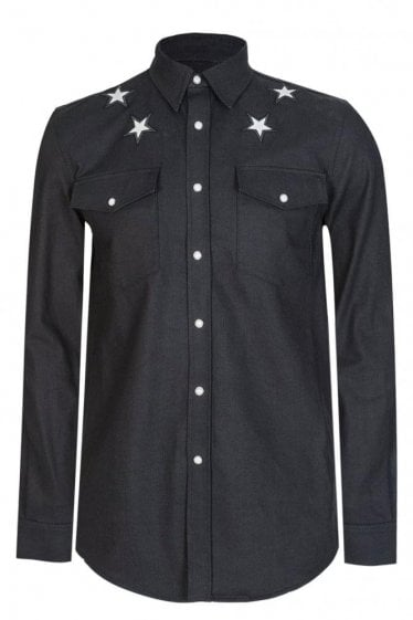 Givenchy Star Denim Shirt Black