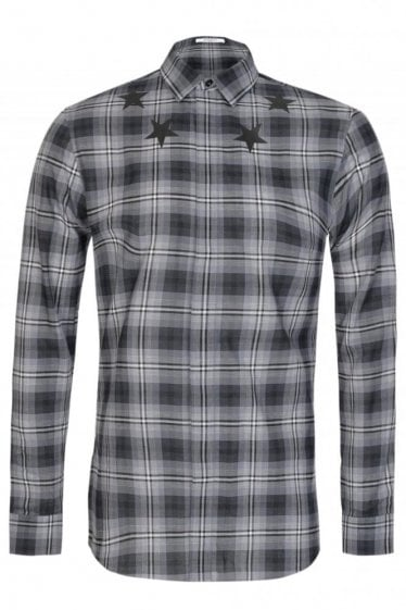 Givenchy Star Neckline Checked Shirt