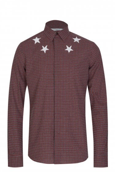 Givenchy Star Neckline Checked Shirt Red