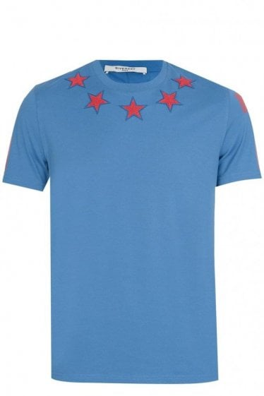 Givenchy Stars Neckline T-Shirt Blue