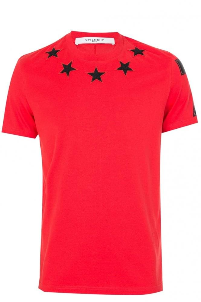 GIVENCHY Stars Neckline T-Shirt Red