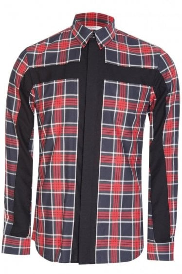 Givenchy Tailored Fit Checkered Shirt Red