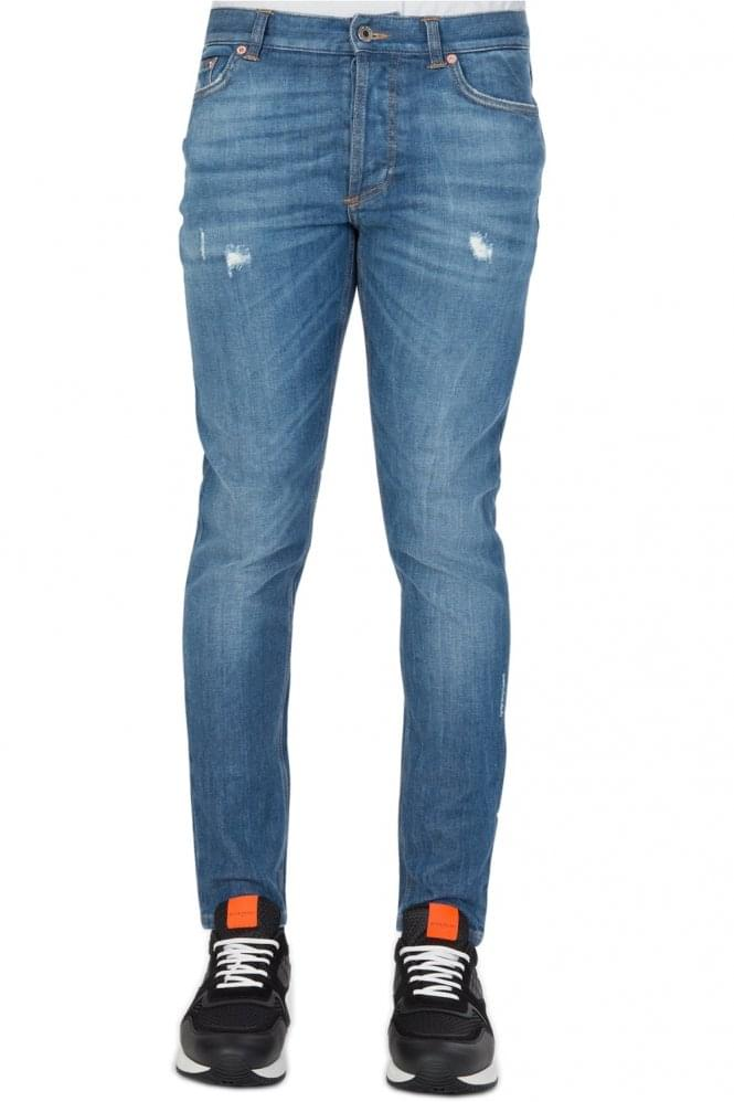 GIVENCHY Washed Back Star Detail Jeans Blue