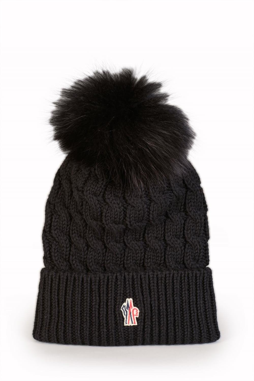 de238dfae99 Moncler Grenoble Women s Ribbed Fur Bobble Beanie Black