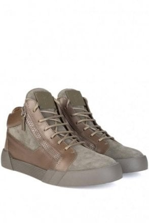 Guiseppe Zanotti Mid Shark Suede/Leather Trainer