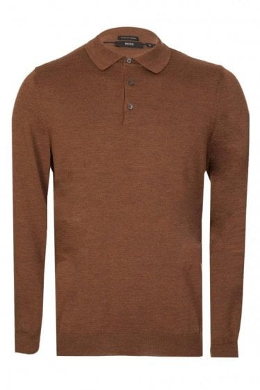 Hugo Boss Bono Long Sleeve Knitted Polo Brown