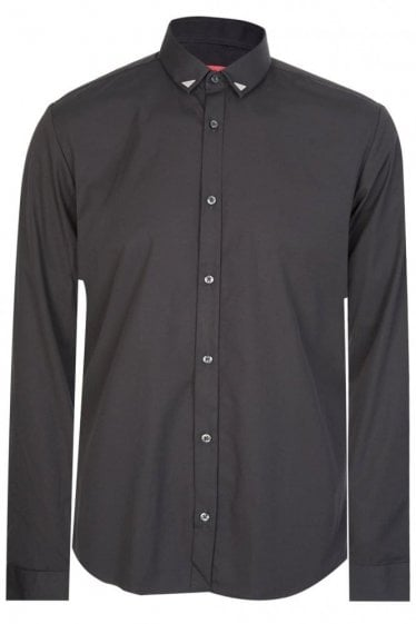 Hugo Boss Ero3 Tipped Collar Shirt Black