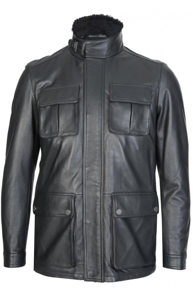 Hugo Boss Gembu Leather Jacket Black