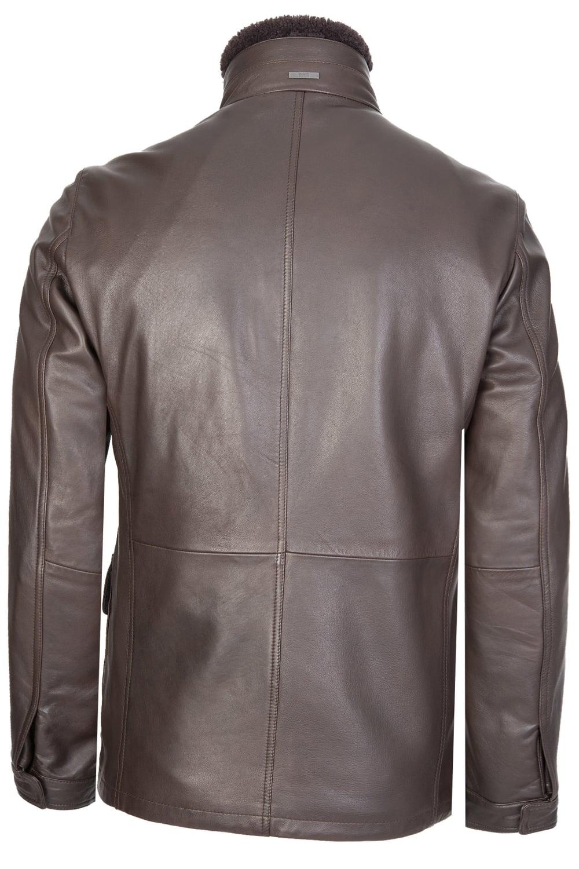 Hugo Boss Gembu Leather Jacket Brown