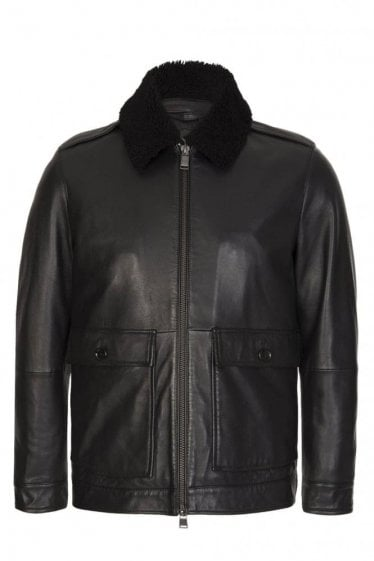 Hugo Boss 'Graven' Leather Jacket Black