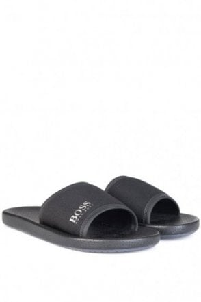 Hugo Boss Green Nemx Beach Sliders Black