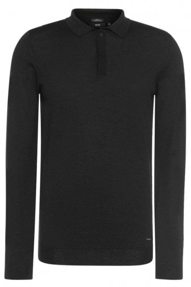 Hugo Boss Iden Knitted Polo Black