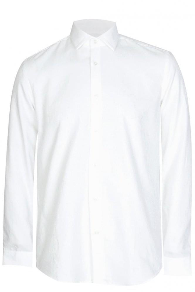 Hugo boss iseo 2 slim fit cotton shirt white for Hugo boss slim fit dress shirt