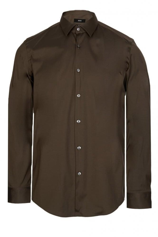 Hugo boss isko slim fit stretch cotton shirt khaki for Hugo boss slim fit dress shirt