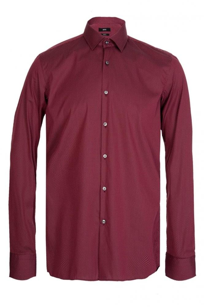 Hugo boss jenno slim fit cotton shirt red for Hugo boss slim fit dress shirt