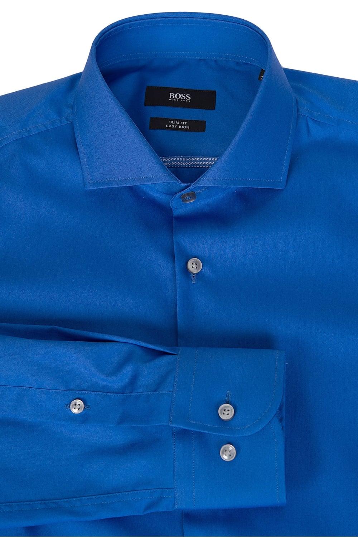 Hugo boss jerrin slim fit cotton shirt blue for Slim fit cotton shirts