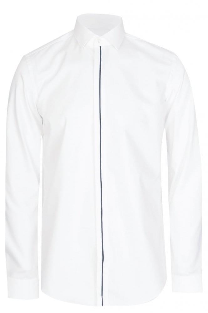Hugo boss josel slim fit cotton shirt white for Hugo boss slim dress shirt