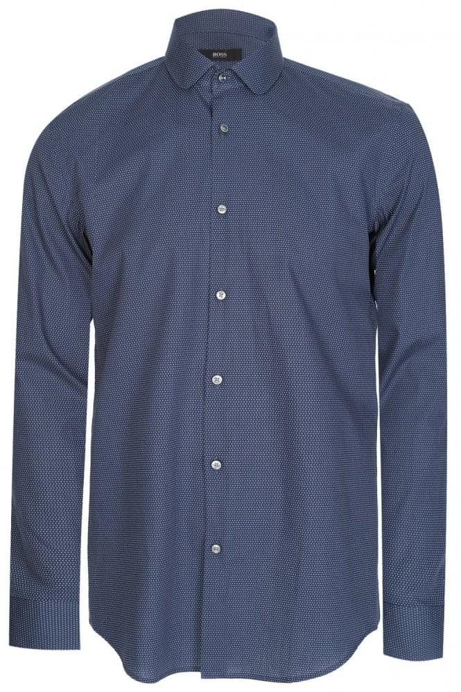 Hugo boss joshua slim fit cotton shirt navy for Hugo boss slim fit dress shirt