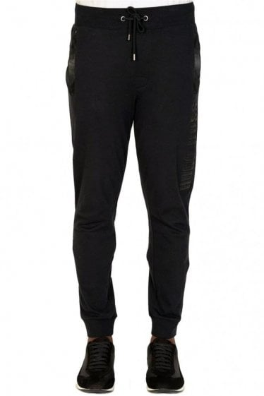 Hugo Boss Leather Effect Combination Item Joggers Black