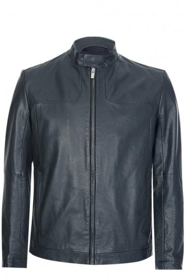 Hugo Boss 'Lemy' Leather Jacket Black
