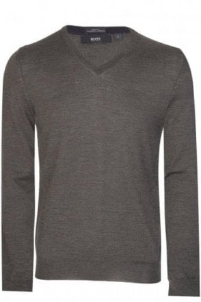 Hugo Boss Melba-B v Neck Jumper Khaki