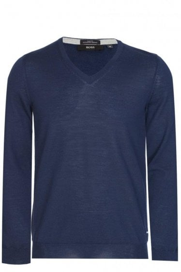 Hugo Boss Melba-M V-Neck Knitted Jumper Navy