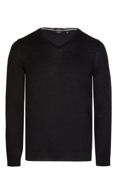 Hugo Boss Melba-N V Neck Slim Fit Knitted Jumper Black