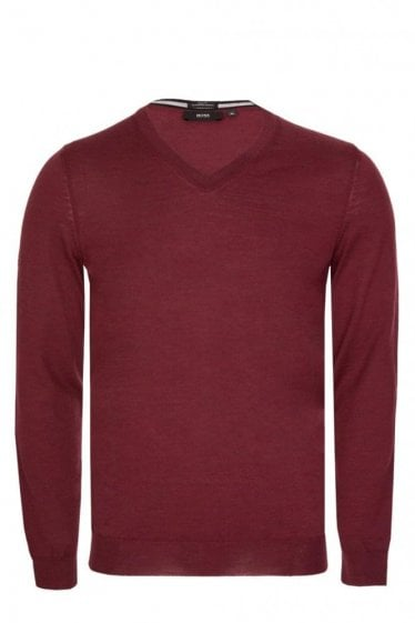 Hugo Boss Melba-N V Neck Slim Fit Knitted Jumper Burgundy