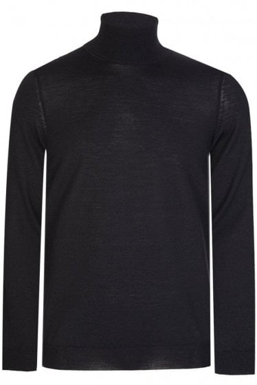 Hugo Boss Musso-N Slim Fit Roll Neck Jumper Black