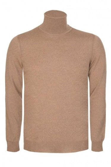 Hugo Boss Musso-N Slim Fit Roll Neck Jumper Stone