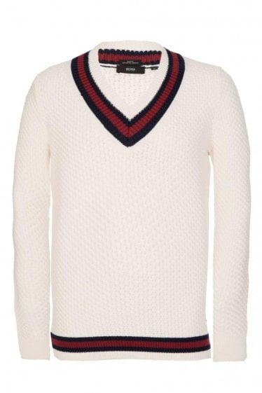 Hugo Boss Namore Slim Fit Knitted Jumper Cream