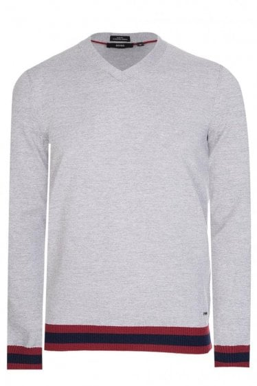 Hugo Boss Navello Slim Fit Knitted Jumper Grey