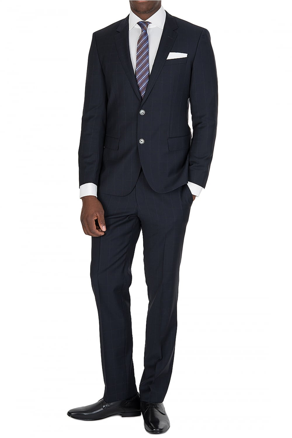 517978f62 BOSS Hugo Boss Navy Checked Suit - Clothing from Circle Fashion UK