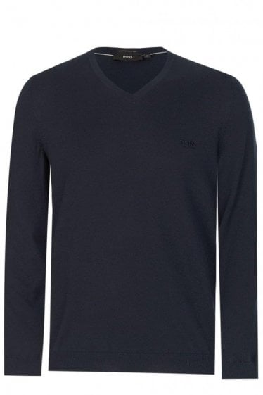 Hugo Boss 'Pacello-L' Knitted Jumper Navy