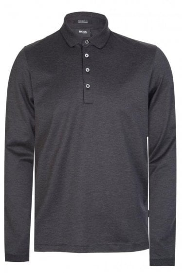 Hugo Boss Pado 03 Long Sleeved Polo Charcoal