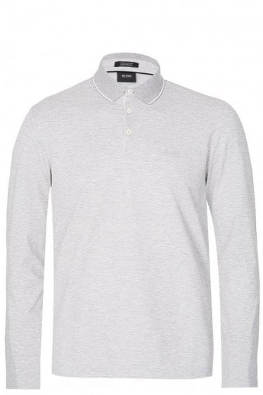 Hugo Boss Pearl 03 Long Sleeved Polo Grey