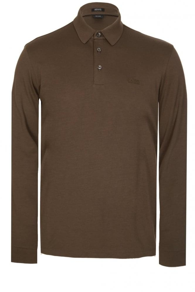 HUGO BOSS Phillian Long Sleeve Polo Khaki