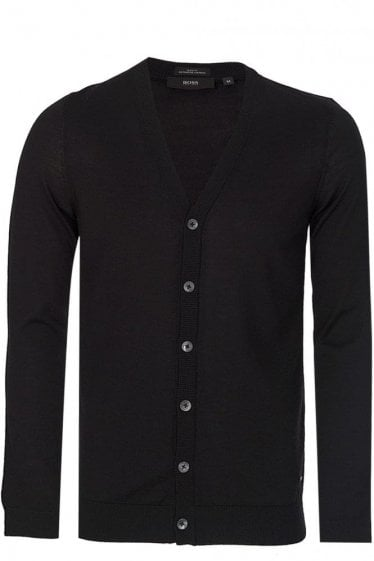 Hugo Boss Slim Fit 'Mardon-P' Knitted Cardigan Black