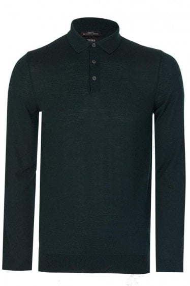 Hugo Boss Slim Fit 'Palasco' Knitted Polo Green