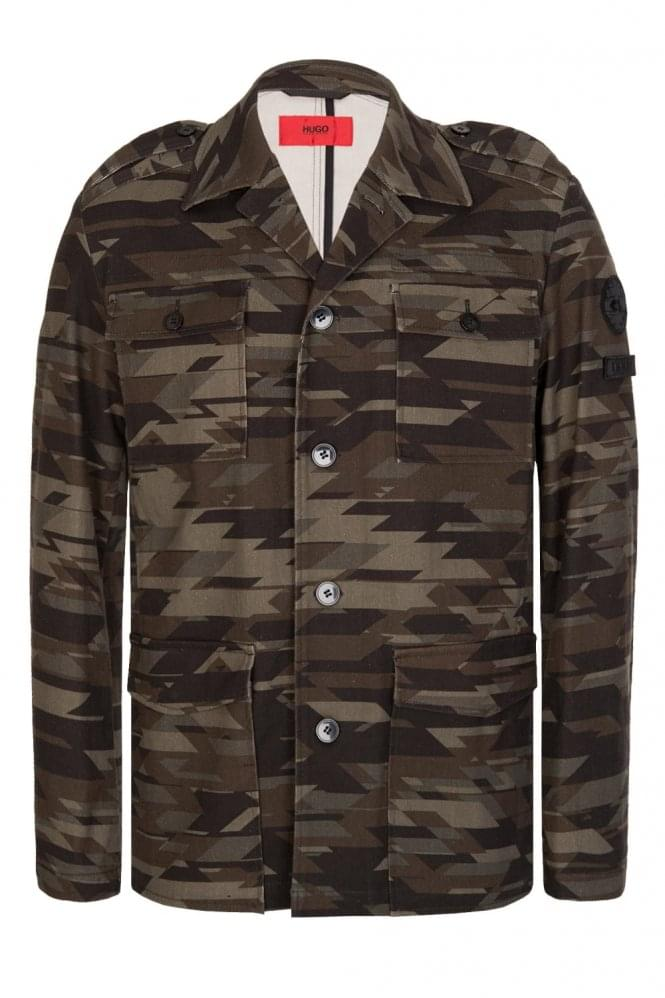 HUGO by HUGO BOSS Atalo-T Regular Fit Geometric Camouflage Jacket Khaki