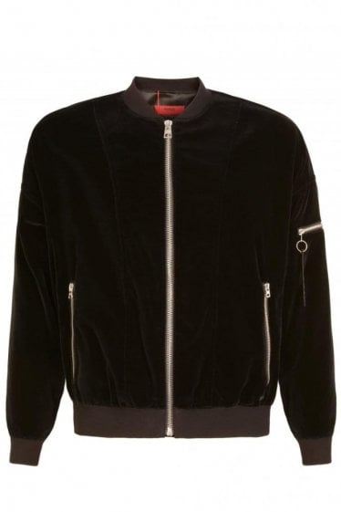 Hugo By Hugo Boss 'Bitrel2' Velvet Bomber Jacket Black