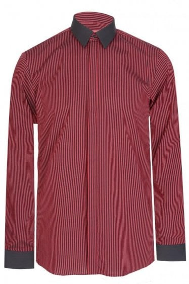 Hugo By Hugo Boss Elynon Extra Slim Fit Cotton Shirt Red