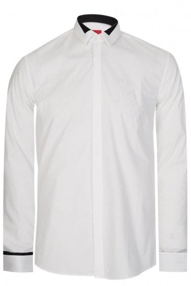 Hugo By Hugo Boss Etris Extra Slim Fit Cotton Shirt White