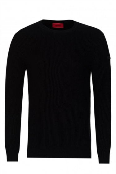 Hugo By Hugo Boss 'Somael' Ribbed Knitted Jumper Black