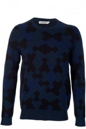J.Linderberg Kane Camo Knit Cable Jumper Navy