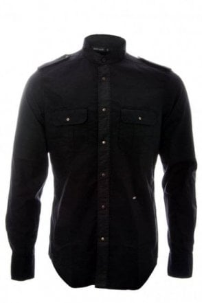 Just Cavalli Mens Black Military Neru Neck Shirt