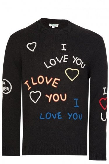 "Kenzo ""I Love You"" Knitted Jumper Black"