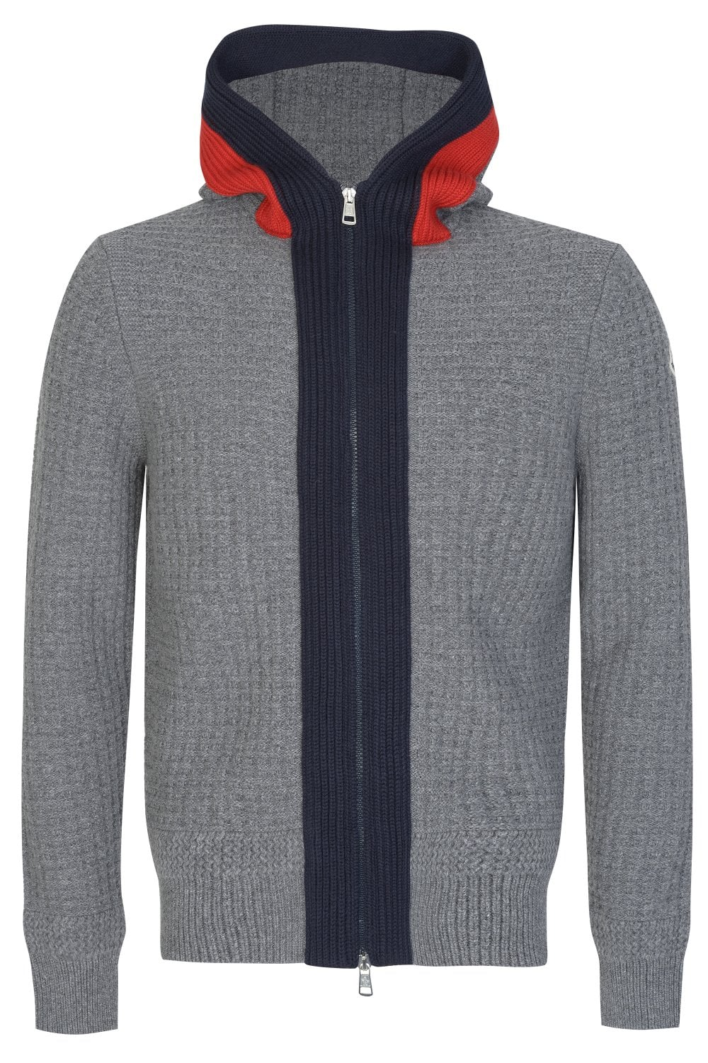 MONCLER Knitted Hooded Grey Top - Clothing from Circle Fashion UK 95787db09